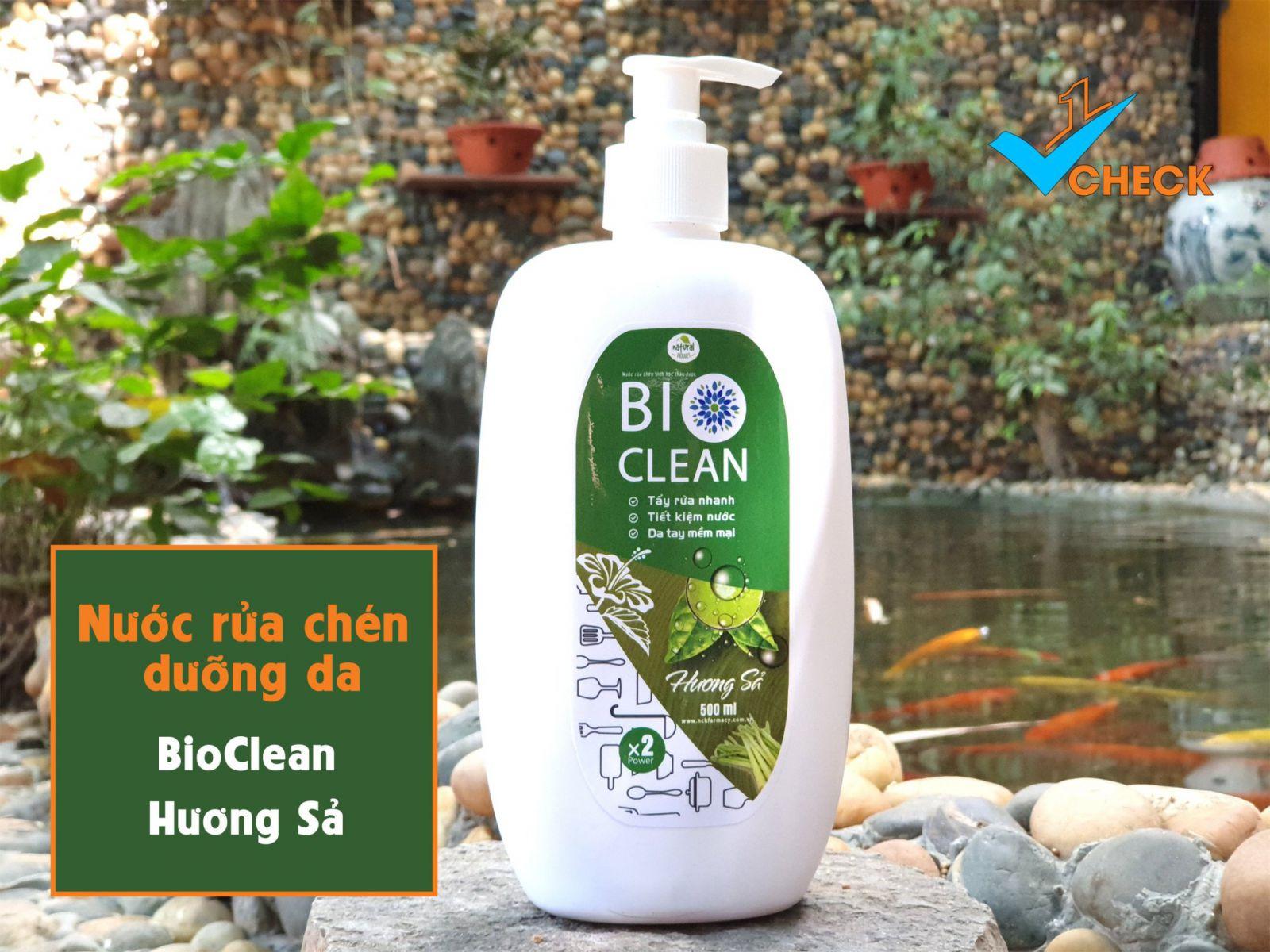 Nước rửa chén sinh học thảo dược BioClean X2, hương sả, chai 500ml