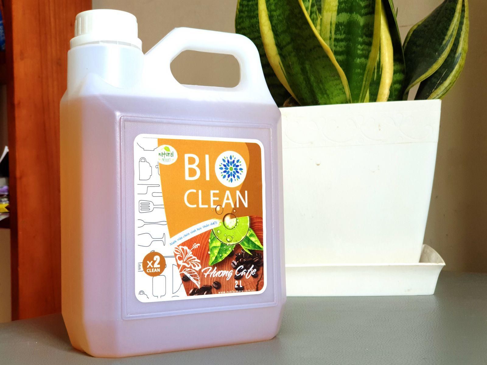 Nước rửa chén sinh học thảo dược BioClean X2, hương cà phê, can 2 lít