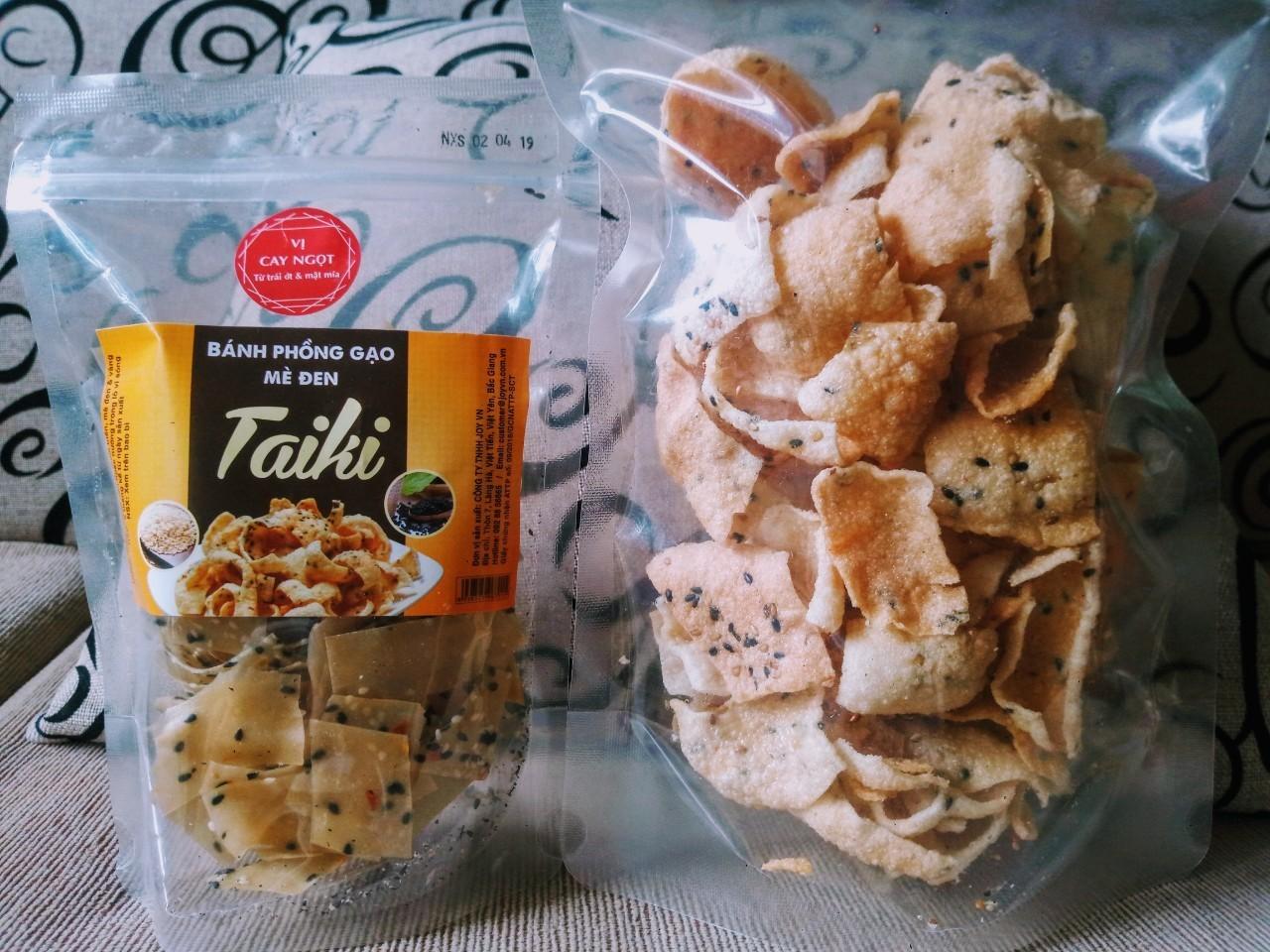 Bánh phồng gạo mè đen Taiki, túi 100gr (Set 20 túi)