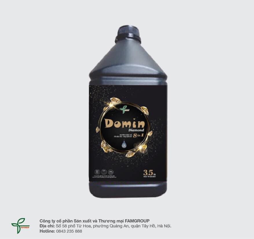 Nước giặt xả cao cấp Domin Diamond, can 3.5 lít, đen (thùng 6 can)